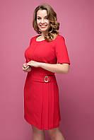 Женское платье большого размера в деловом стиле до колен красного цвета Давина Нарядный, 50, 50