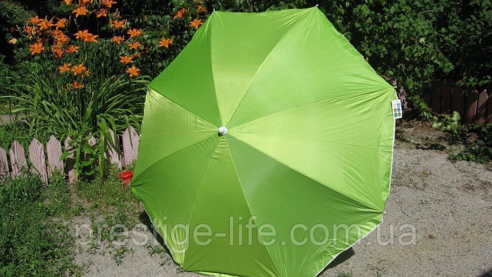 Зонт диаметром 2,2 м серебренное покрытие с уклоном. Цвет: Зелёный