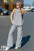Женский летний костюм в полоску / лён / Украина 7-6-460, фото 1