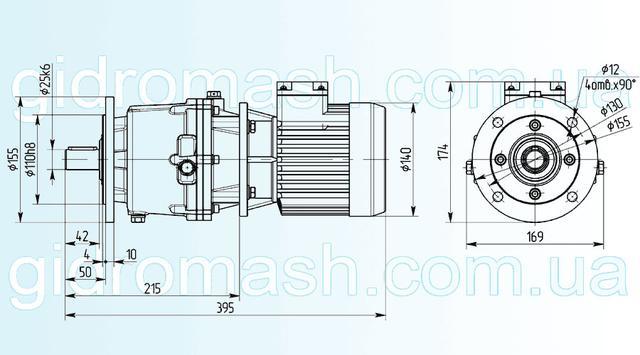 Размеры трехступенчатого мотор-редуктора 3МП-25 исполнение на фланце