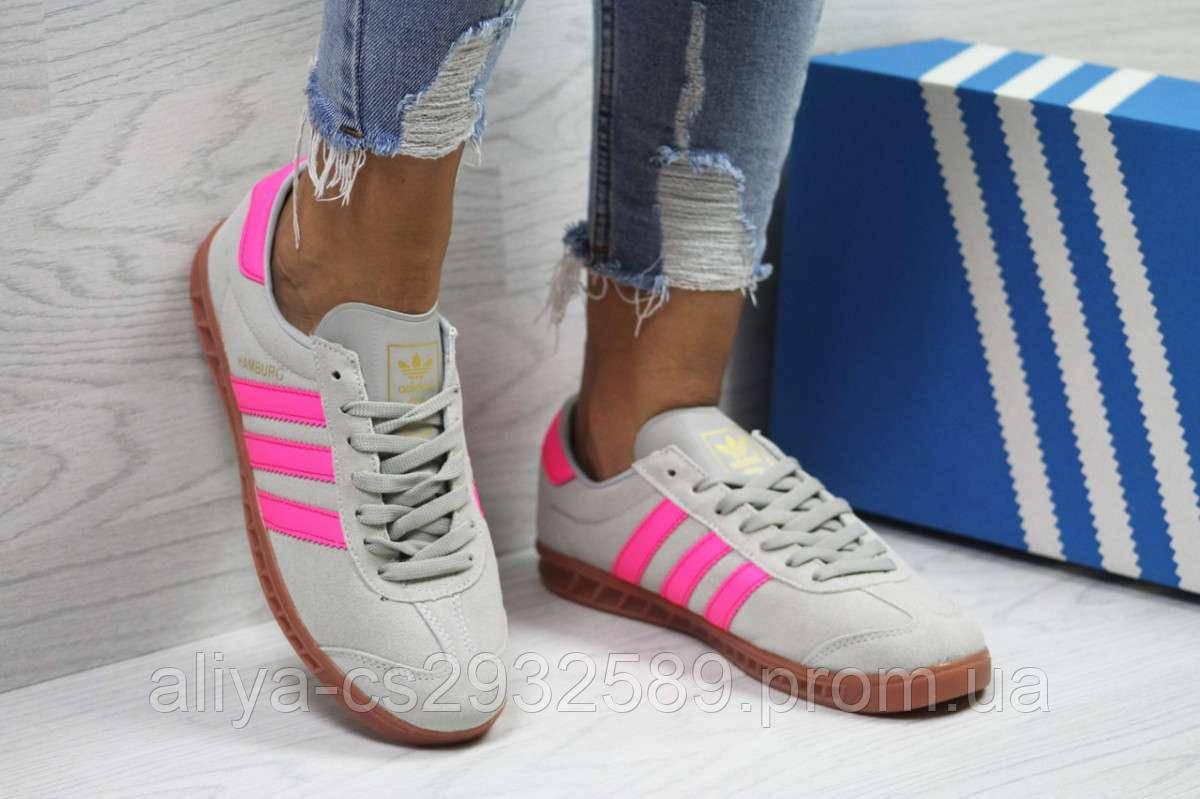 Кроссовки женские серые с розовым Adidas Hamburg 6027