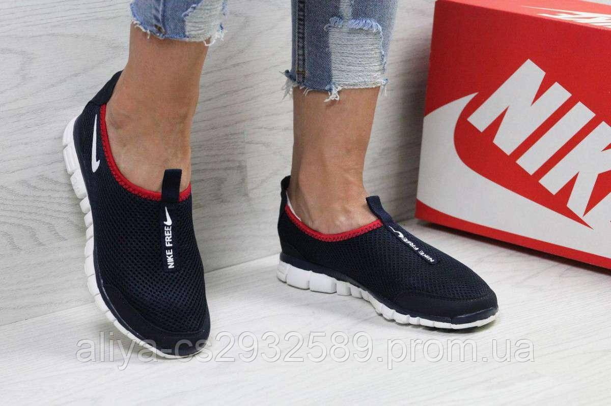 Кроссовки женские темно синие с красным Nike Free ran 3.0 5396