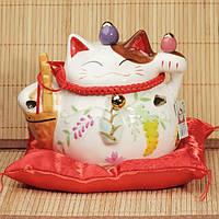 Манэки-нэко «Счастливая жизнь», белый #7