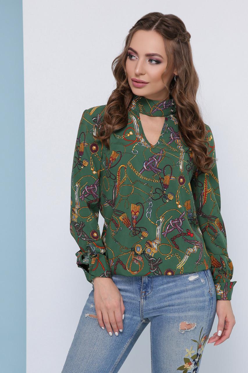 Модная легкая блузка с чокером на пуговицах и длинными рукавами узор цепи, зеленая