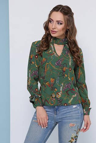 Модная легкая блузка с чокером на пуговицах и длинными рукавами узор цепи, зеленая, фото 2