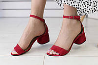 Босоножки женские велюровые  на устойчивом каблуке яркие с открытым носком (красные), фото 1
