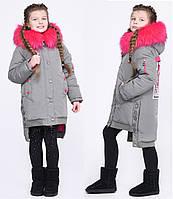 Необычная Зимняя Куртка для Девочки Регулируемый Низ Цвет Фисташка Рост 122-158 см