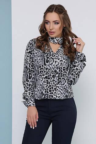 Трендова легка блузка в леопардовий принт з коміром-чокером сіра, фото 2
