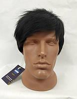 Парик женский черный натуральные волосы, короткая стрижка, черные волосы