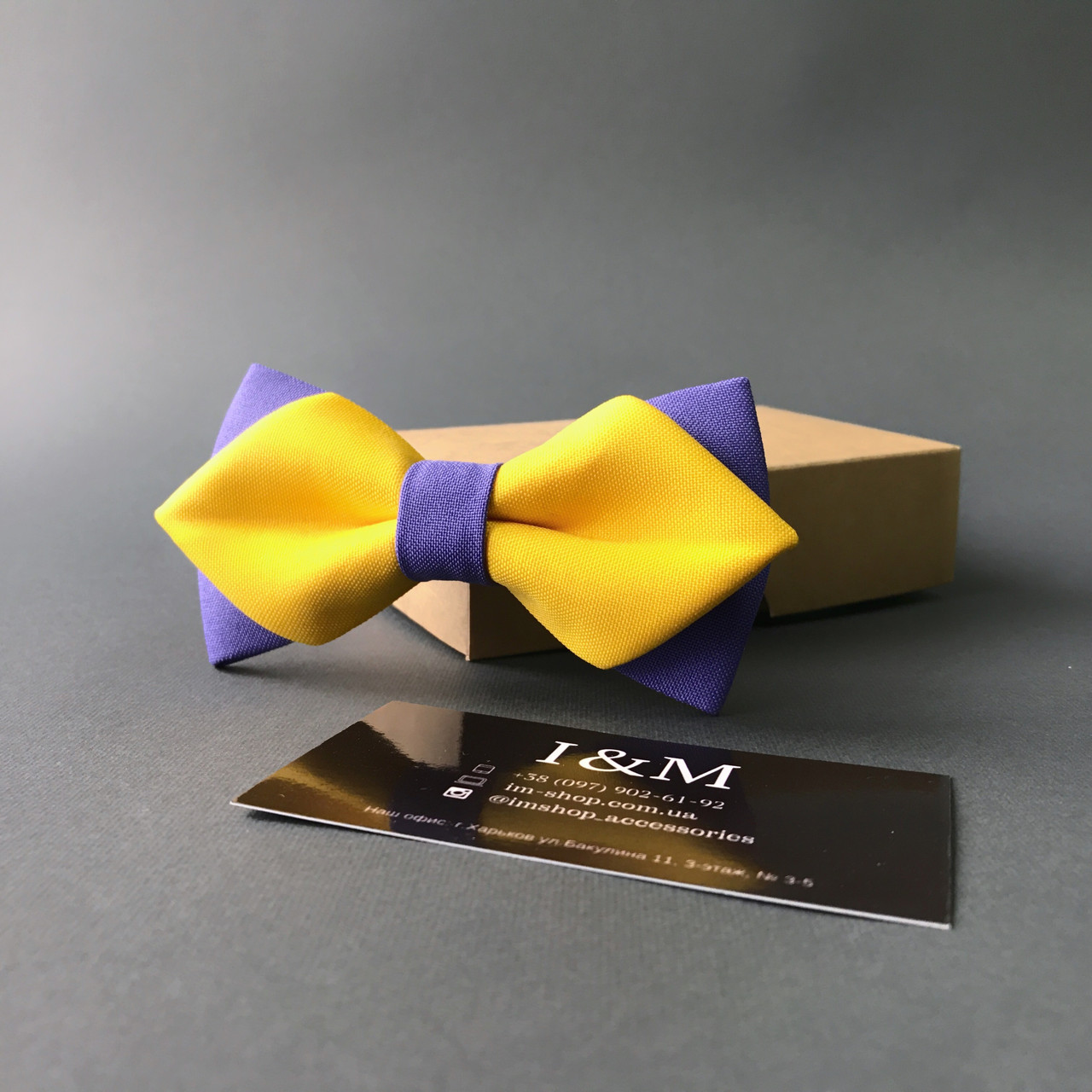 Краватка-метелик I&M Craft з гострими кінцями жовтий з лавандовим (100154N)