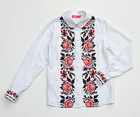 Детская белая хлопковая блузка для девочки с вышивкой Роза красная Piccolo L