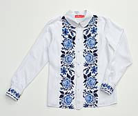 Детская белая хлопковая блузка для девочки с вышивкой Роза синяя Piccolo L