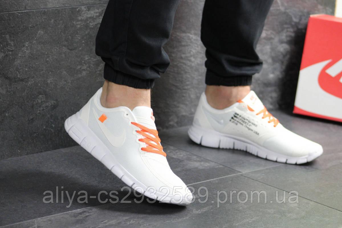Мужские кроссовки белые с оражевым Nike Free Run 5.0 7674