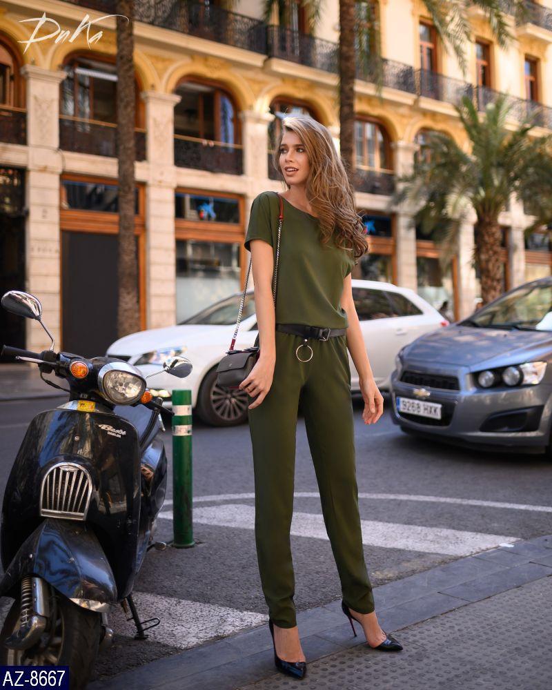 Женский стильный летний брючный комбинезон с карманами,рукав короткий,пояс на резинке (софт) цвет-хаки (батал)