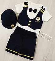 Костюм летний для новорожденных на мальчика Моряк (боди, шорты, кепочка) размер 62,68,74 на 3-9 месяцев Турция