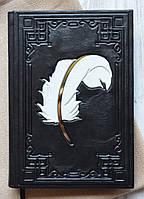 """Ежедневник подарочный в кожаном переплете """"Перо 2"""", недатированный, ручной работы"""