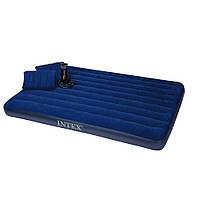 Двуспальный надувной матрас с насосом и двумя подушками Intex 68765