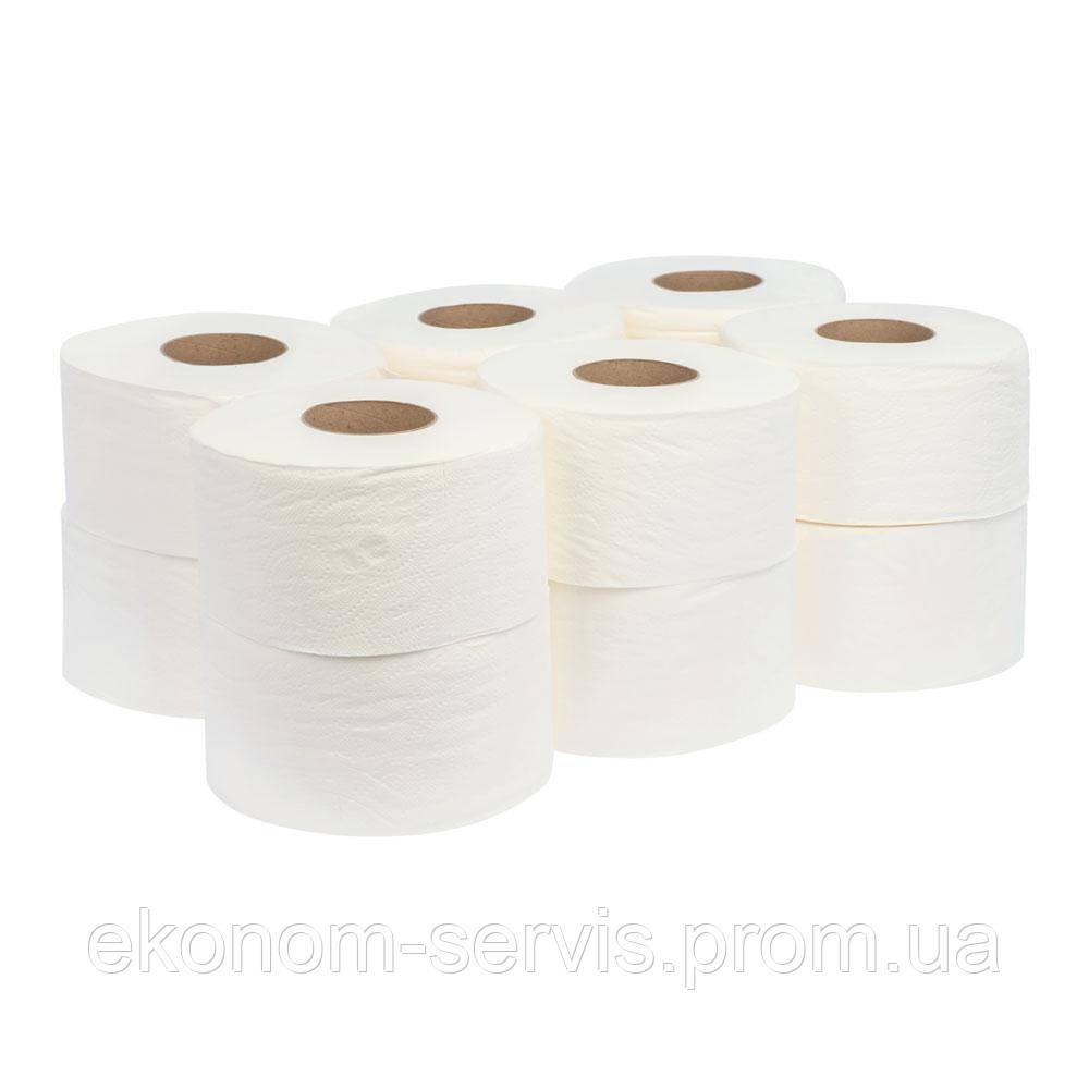 Туалетная бумага ПП Джамбо 2-х слойная, белая на гильзе, 90м, 12 рулонов.