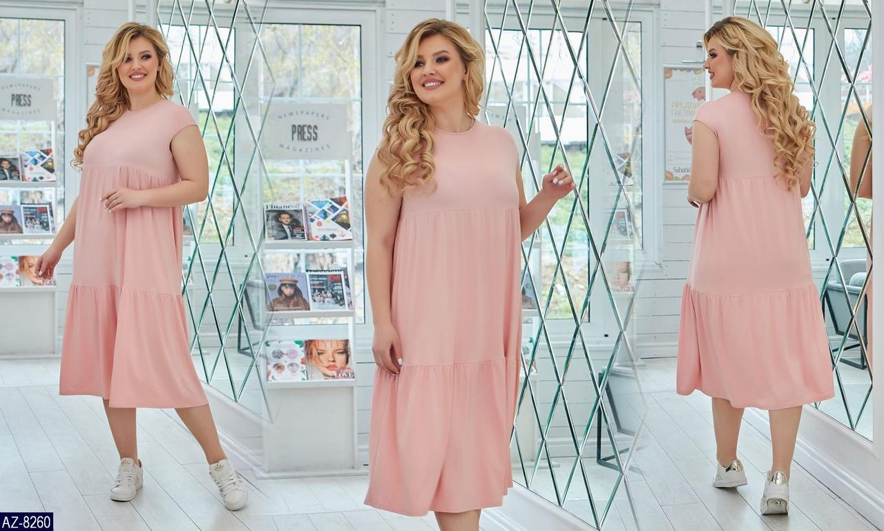 Женское прогулочное однотонное летнее миди платье с коротким рукавом (вискоза) 2 цвета (батал)