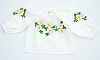 Детская белая хлопковая вышиванка для девочки с яркой вышивкой Ромашка розовая реглан Piccolo L
