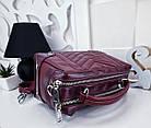 Женская сумка-клатч в цвете марсала с серебристой фурнитурой, из эко кожи, фото 6