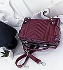 Женская сумка-клатч в цвете марсала с серебристой фурнитурой, из эко кожи, фото 3
