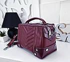 Женская сумка-клатч в цвете марсала с серебристой фурнитурой, из эко кожи, фото 4