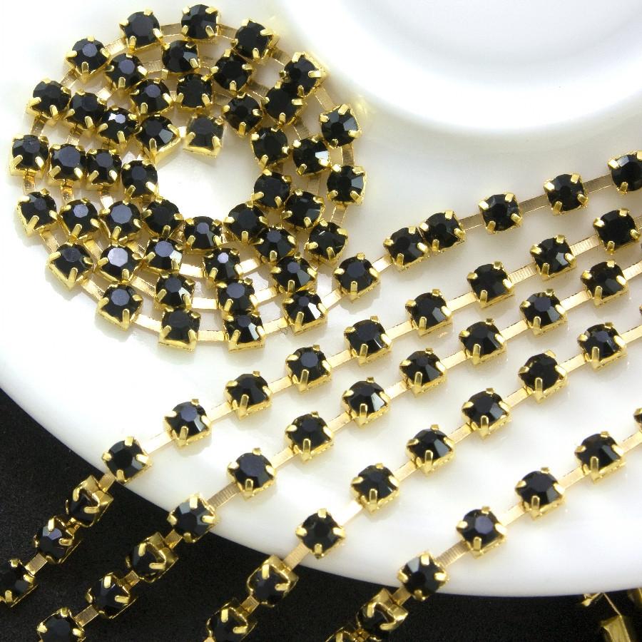 Стразовая цепь, SS 12 (3мм), 20см, основа -золото, цвет черный