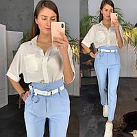 Костюм женский стильный блуза и брюки с высокой талией Dld1499, фото 1