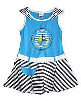 Детское платьес корабликомдля девочкиот 1 годадо 5лет голубое с полосатой юбкой