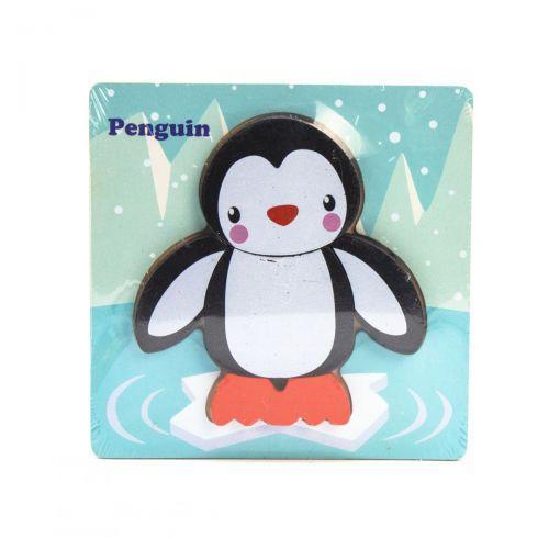 """Деревянная рамка с вкладышами-пазлами """"Пингвин"""", 5 деталей C36033"""