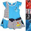 Детское платье для девочки от 1 года до 5 лет голубого цвета в полоску с якорем