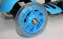 Самокат с наклоном руля Micro Mini с сиденьем 3 в 1 голубой (колеса светящиеся), фото 3
