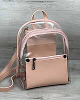 Женский рюкзак Бонни пудра с силиконом (прозрачный)