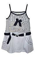 Детский сарафан для девочки на бретельках от 1 года до 10 лет с ремешком и бантиком