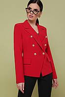 Красный двубортный женский жакет, фото 1