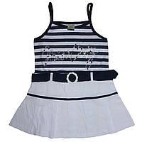 Детский сарафан для девочки на бретельках от 1 года до 10 лет с белой юбкой и ремешком