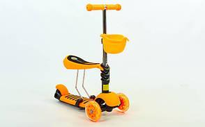 Самокат с наклоном руля Micro Mini с сиденьем 3 в 1 оранжевый (колеса светящиеся)