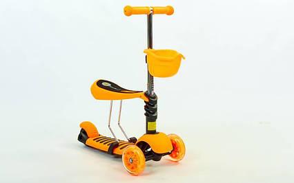 Самокат с наклоном руля Micro Mini с сиденьем 3 в 1 оранжевый (колеса светящиеся), фото 2