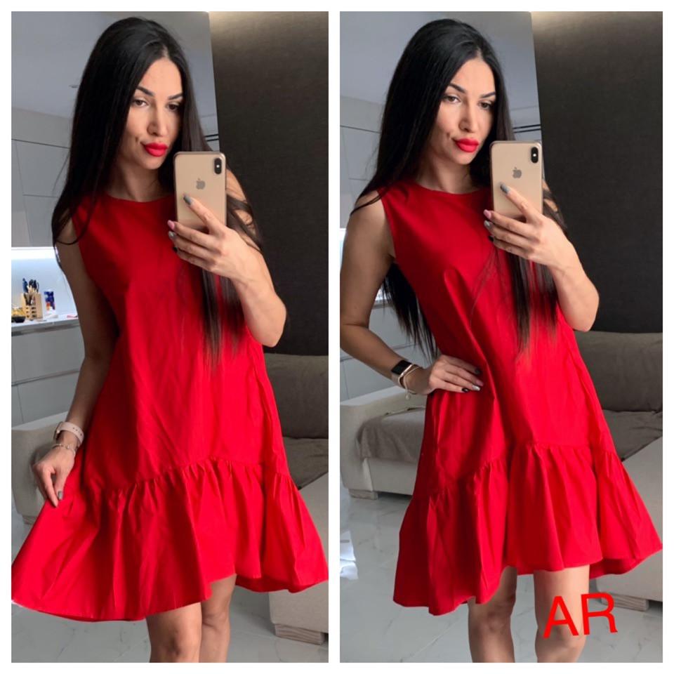 83ffceede31 Красное летнее платье с воланом - Golden Slex в Харькове