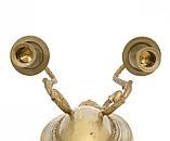 Бронзовый настенный канделябр, подсвечник, на две свечи, бронза, Германия, фото 6