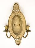 Бронзовый настенный канделябр, подсвечник, на две свечи, бронза, Германия, фото 7