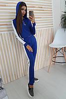 Синий спортивный костюм с лампасами и капюшоном