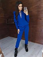 Теплый трикотажный костюм синего цвета на флисе