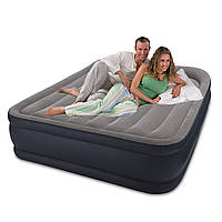 Надувной матрас кровать со встроенным электронасосом Intex