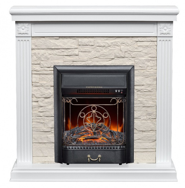 Пристенный каминокомплект Fireplace Чехия Белый эффект мерцающих дров со звуком и обогревом