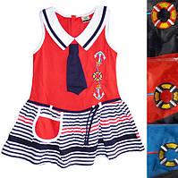 Детский сарафандля девочки с воротником и галстукомот 1 годадо 5лет в полоску с якорями