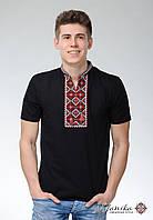 Чоловіча футболка на короткий рукав чорного кольору машинної вишивки «Отаманська»