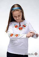 Модна дитяча футболка із вишивкою білого кольору «Маки-ромашки»