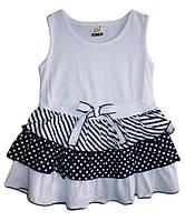 Детский сарафан для девочки белый от 1 года до 5 лет юбка в мелкий горошек